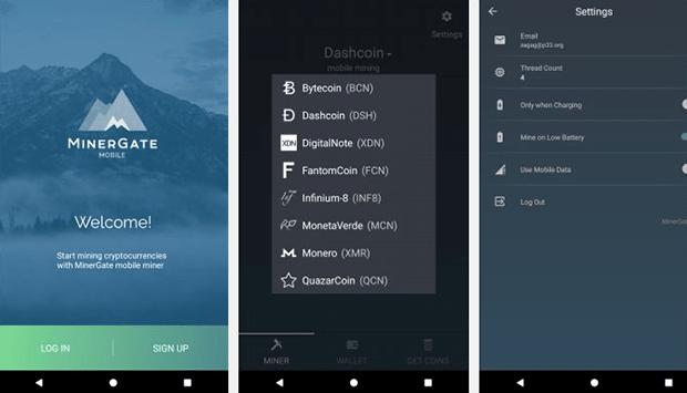 Мобильный майнер MinerGate Mobile Miner 2.4